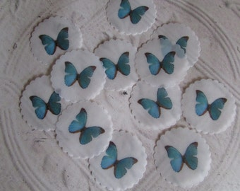 Blue Butterfly Seals or Stickers  - 24 handpunched butterfly Envelope Seals or Custom Image Seals with scalloped edge - 1.5 inch diameter