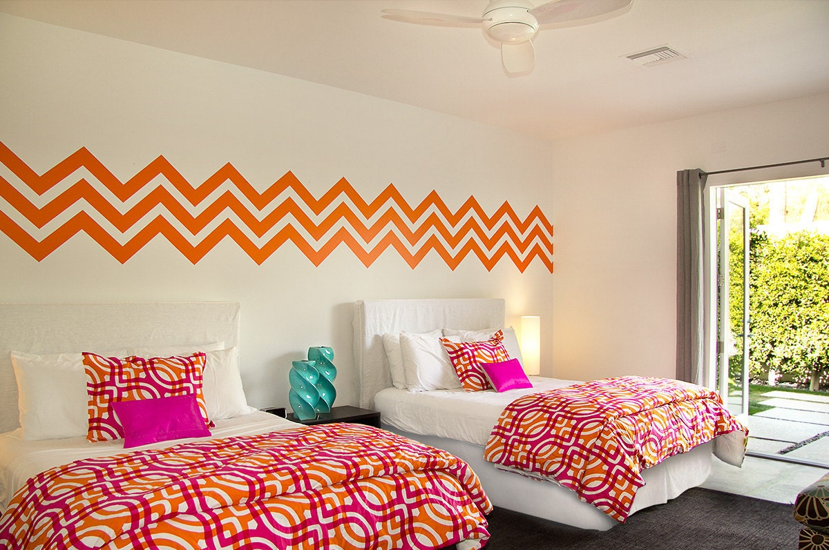 Wall decal chevron geometric zig zag mod by wallstargraphics for Chevron template for walls