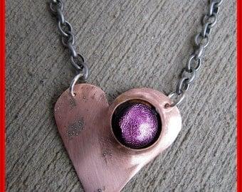 Heartbeat. heart necklace,copper jewelry