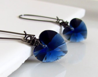 Blue Heart Earrings, Indigo Blue, Valentine Heart Earrings, Swarovski Crystal, Dark Blue Heart Jewelry, Gunmetal, Wire Wrapped