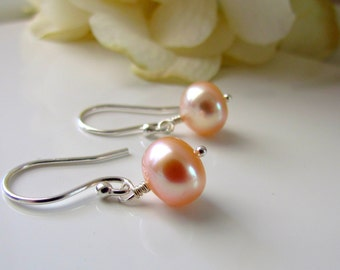 Peach Pearl Earrings, Bridesmaid Gift, Freshwater Pearls, June Birthstone, Sterling Silver, Simple Pearl Earrings, Dangle Earrings