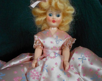 Vintage 1940s Lady Alice Doll Admiration Toy Co in Box 7 1/2 inch Sleep Eyes Girl Floral Pink Rose Dress with Blue Ribbon Bows Prize Paper