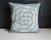 Aqua and White Floating Petals pillow cover