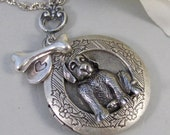 Custom Order Poodle locket  with bone and heart charm 24 inch anti silver chain with