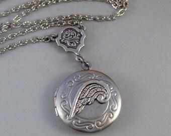 Little Angel,Locket, Silver Locket, Angel,Wing,Angel Locket,Necklace,Silver,Antique Silver.Handmade jewelery by valleygirldesigns.