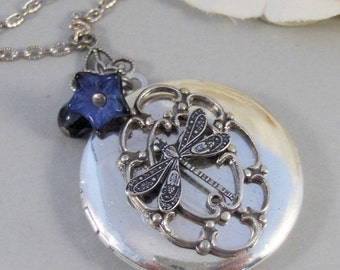 Sapphire Wings,Locket,Silver Locket,Dragonfly,Wing,Dragonfly Locket,Sapphrie,Necklace. Handmade Jewelry by valleygirldesigns