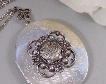 Sea Maiden,Locket,Mermaid, Shell Locket,Antique Locket,Silver Locket,Goddess,Ocean Locket,Handmade jewelry by valleygirldesigns