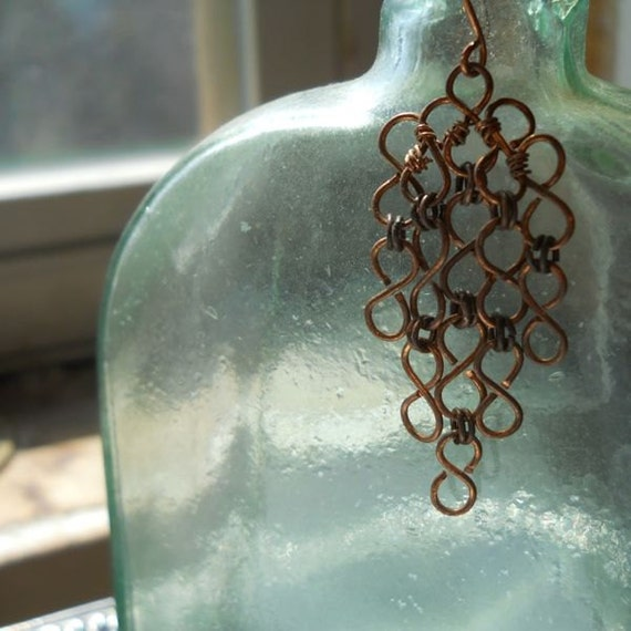 Chained Copper Lace Earrings