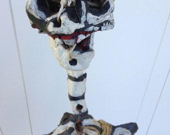 Clyde Jones OOAK marionette art doll ceramic found object mache