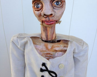 Free Will OOAK marionette art doll ceramic found object mache