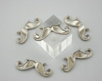 5 pcs.Zinc Silver Tone Mustache Charms Pendants Decorations Findings 28 mm.  MUT N28 RC