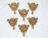 4 - Antique brass elegant leaf 3 ring connector stamping lot of - FT152