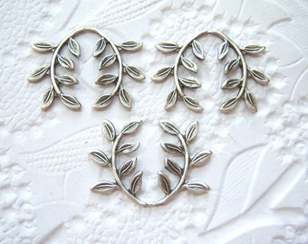 3 -silver plated leaf spray embellishment - HJ153