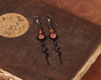 Black Steampunk Earrings - Clock Hand Earrings - Black Earrings - Dangle Earrings - Steam Punk Earrings