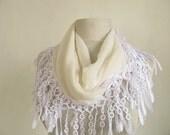 Chiffon scarf // Vanilia scarf //  Lace Scarf // Woman scarf // Fashion scarf