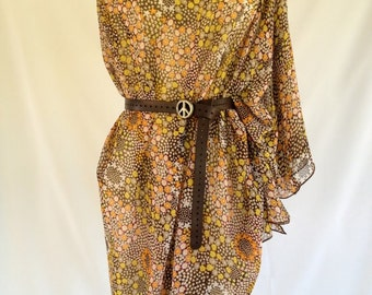 Chiffon Convertible Coverup - Brown Floral