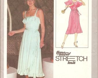 1970s Womens Disco Dress - Simplicity 8733 Vintage Pattern - Bust 31 32 34 UNCUT FF