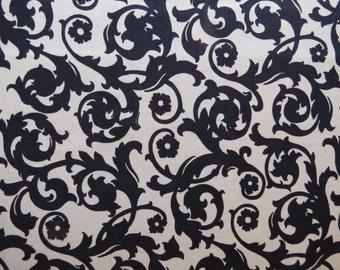 "50% OFF FABRIC SALE! 1950s Vintage Fabric - Black Swirls on Off White Fabric Indian Head Mills, Inc. - 1/2 yard x 36"" wide"