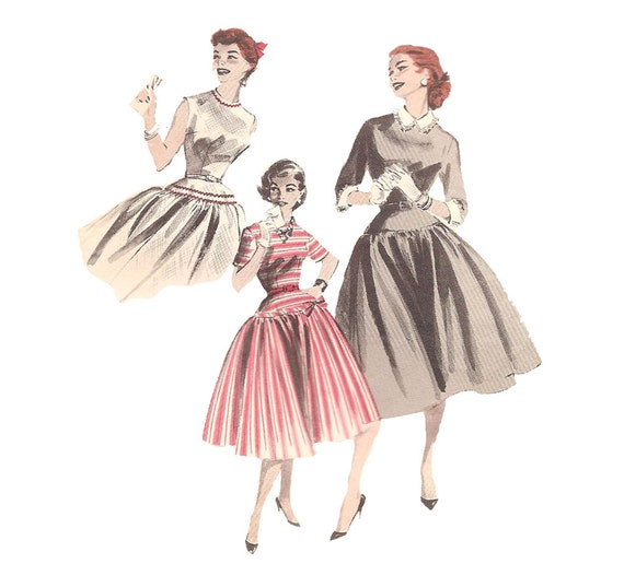1950s Womens Dress - Butterick 7580 Vintage Sewing Pattern - 31 Bust