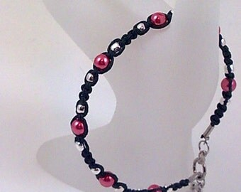 Black Hemp Anklet with Red Glass Pearls and Silver Glass Beads