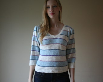 SALE Silk Knit Striped Sweater / V Neck Knit Top / 70s Metallic Threading / Baby Blue / Cream Sweater / Size Small sm 0-2-4