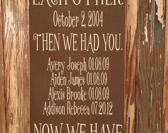 First We Had Each Other ~ Important Dates Sign ~ Custom Dates Sign ~ Family Date Sign ~ Year Est ~ Then We Had You Now We Have Everything