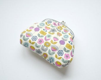 Small Clasp Pouch - Retro Flowers in Hot Pink, Yellow and Blue on Cream