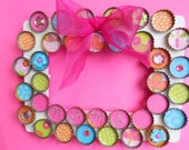 Girly Girl Pink and Brights Bottle Cap Personalized Name Photo Frame