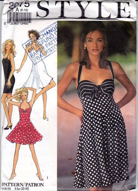 1991 Womens Womens Sewing Pattern Tie Front Bustier Dress
