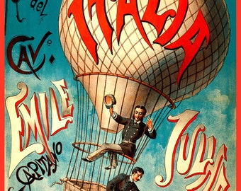 "Vintage Giclée Reproduction of ""Italia"" Hot Air Balloon  c1880"