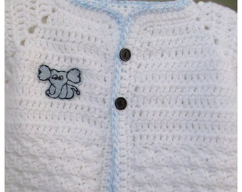 Baby Sweater with Elephant Applique
