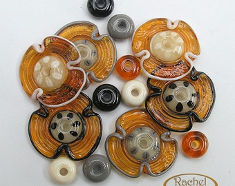 Amber Flowers Lampwork Glass Beads, FREE SHIPPING,Handmade Beads Supplies, Rachelcartglass