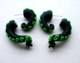 Toxic Waste Tentacle Earring Fake Gauge - Octopus - Squid - Monster - Kraken -Toxic Avenger