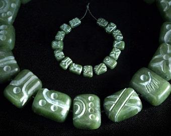 Jade Glyph beads