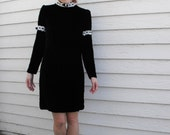 Vintage Mini Dress Black Velvet Goth Boho Hippie Mod Go Go XS