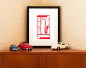 Punch Out Model Saxophone Art Print - Red & White on 100% Recycled Paper (Free Shipping in US)