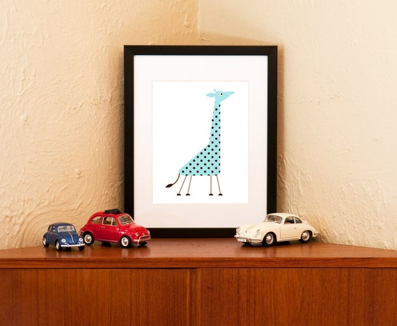 Tiny But Tall - Baby Giraffe Print in Blue or Pink (Free Shipping in US)