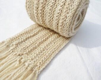 Creamy Beige #103 - Hand Knit Scarf