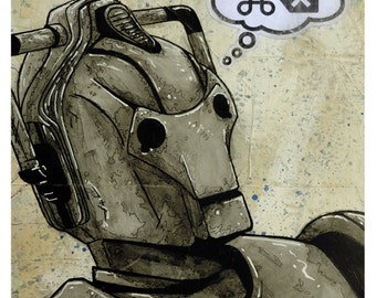 """Cyberman - 8x10 Art Print - """"DELETE"""" - Doctor Who - Limited Edition Print"""