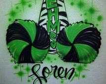 Airbrush Cheerleader Zebra Megaphone & Pom Poms T-Shirt w/ Name size XS S M L XL 2X Airbrushed T Shirt