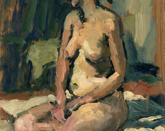 Night Session, Seated Female Nude. Original Oil Painting, 5x7 Oil on Panel, Traditional Fine Art, Realist Figure Painting, Signed Original