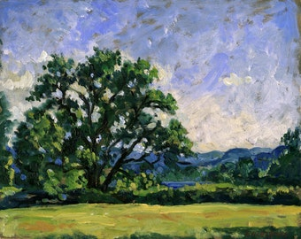 Ode to Joy, Tanglewood Afternoon. Small Oil Landscape on Panel, 8x10 inch Plein Air Impressionist Artwork, Signed Original Oil Painting