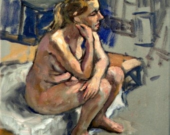 Model At Rest, Seated Female Nude. 12x12 Original Oil on Canvas, American Realist Figure Painting, Signed Original Fine Art