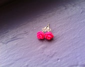 Hot Pink  Mini Rose Earrings
