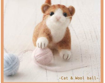 DIY handmade Wool Felt kit Cat & Wool ball -  Japanese kit package