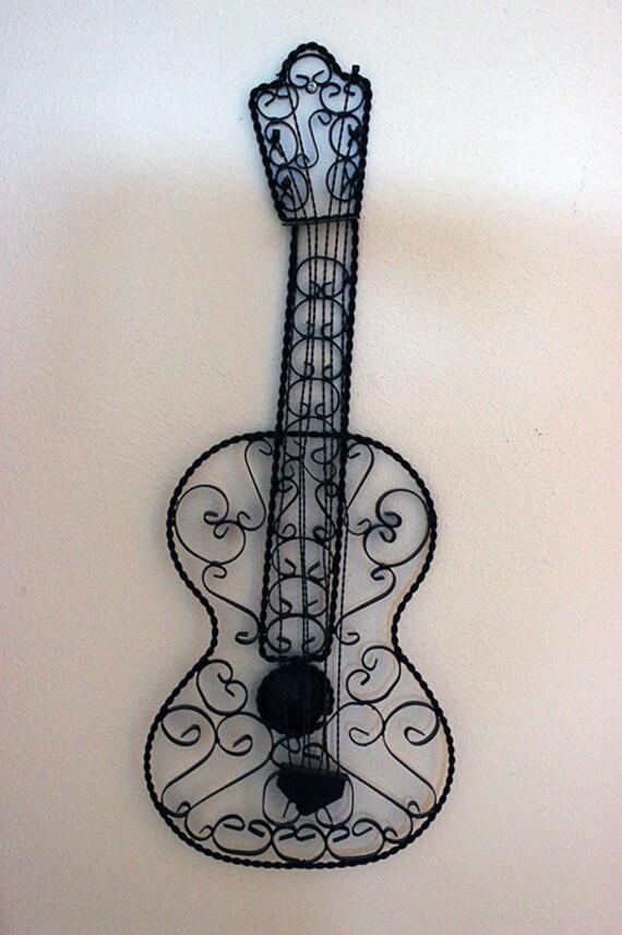 Vintage Wrought Iron Metal Decorative Wall Black Guitar