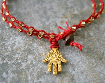 Hamsa Bracelet in Red and Gold- Braided Double Wrap Hipster Bracelet- Made to Order