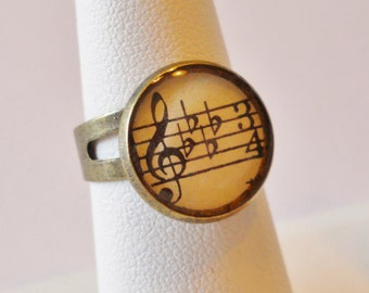 Sheet Music Ring: Vintage Music Jewelry, Gift for Musician Her Music Lover, Treble Clef Statement Ring, Notes, Gift Boxed, Ready to Ship