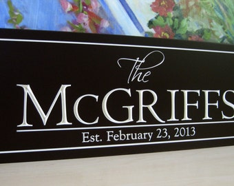 Last Name Sign |  Personalized Family Name Sign | Carved Wood sign |