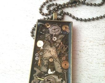 Map Custom Initial Clockwork Clutter Antiqued Brass Necklace